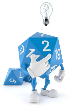 RPG dice character having an idea isolated on white background. 3d illustration Standard-Bild - 151089504