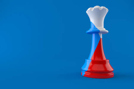 Chess with czech flag isolated on blue background. 3d illustration Standard-Bild