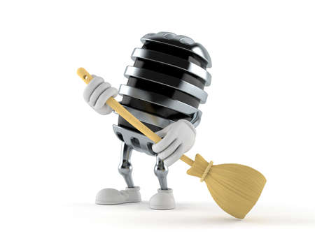 Microphone character sweeps the floor isolated on white background. 3d illustration Standard-Bild - 151089512