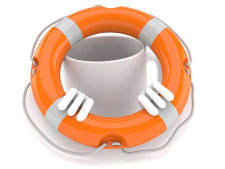 Mug character inside life buoy isolated on white background. 3d illustration Standard-Bild
