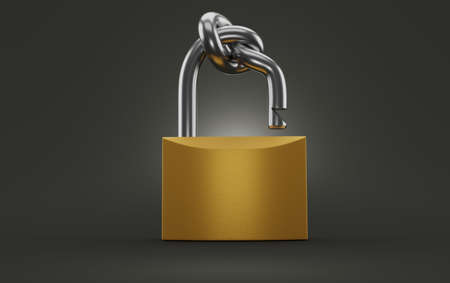 Padlock with knot on grey background. 3d illustration