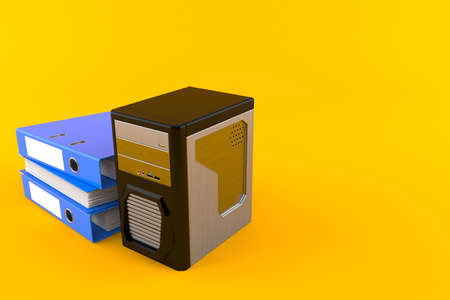 Computer with ring binders isolated on orange background. 3d illustration