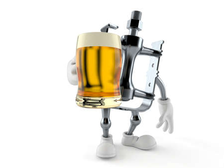 Bicycle pedal character holding beer glass isolated on white background. 3d illustration