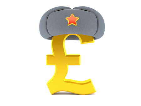 Pound currency with winter hat isolated on white background. 3d illustration