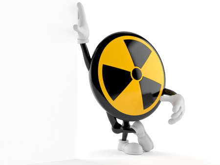 Radioactive character leaning on wall isolated on white background. 3d illustration
