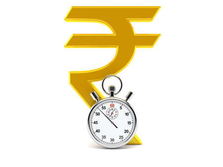 Rupee currency symbol with stopwatch isolated on white background. 3d illustration