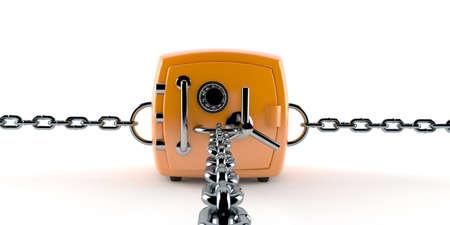 Orange safe with chain isolated on white background. 3d illustration Standard-Bild