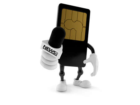 SIM card character holding interview microphone isolated on white background. 3d illustration