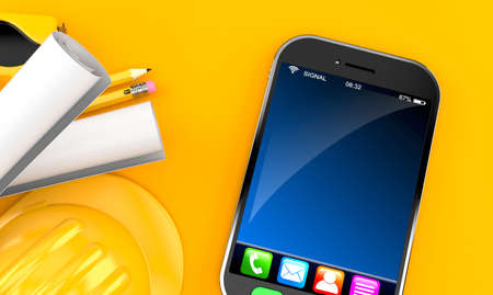 Smartphone with hardhat and blueprints on orange background. 3d illustration