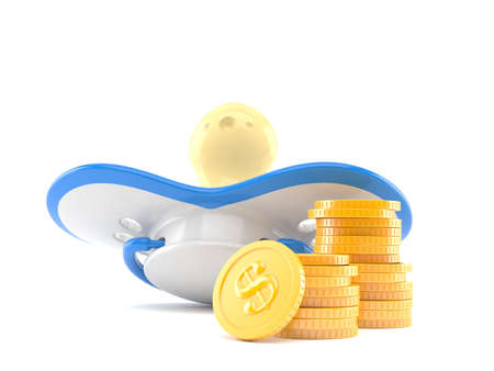 Pacifier with stack of coins isolated on white background. 3d illustration Standard-Bild