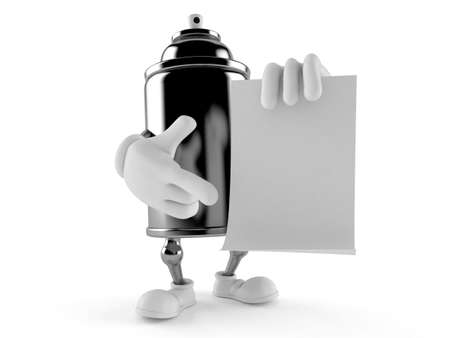 Spray can character holding blank sheet of paper isolated on white background. 3d illustration