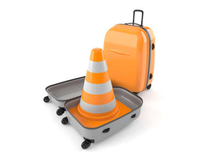 Traffic cone inside suitcase isolated on white background. 3d illustration Standard-Bild - 151089539