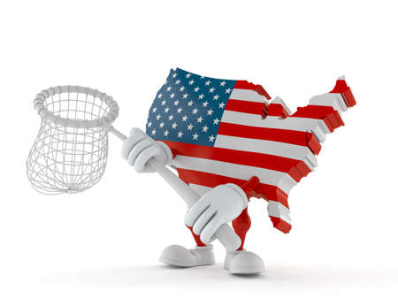 USA character holding net isolated on white background. 3d illustration Standard-Bild - 151089543