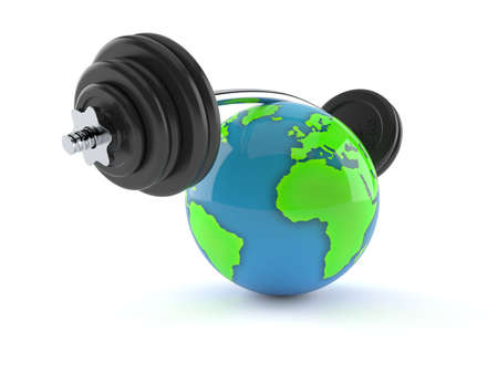 World globe with barbell isolated on white background. 3d illustration Standard-Bild - 151089547