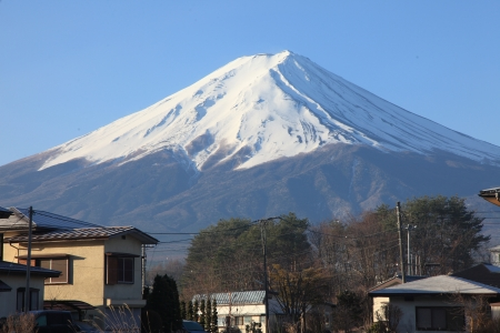 fuji san: View of Mount Fuji from Kawaguchiko in march  Stock Photo