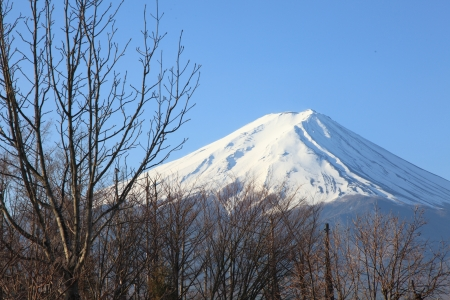 snowcapped: View of Mount Fuji from Kawaguchiko in march  Stock Photo