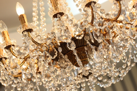 luxury interior: beautiful crystal chandelier in a room