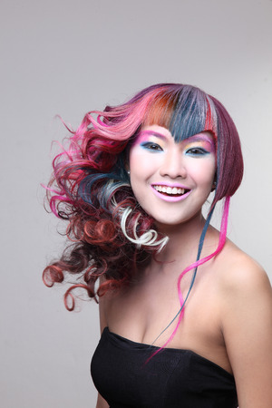 portrait of a beautiful girl with dyed hair, professional hair coloring  photo