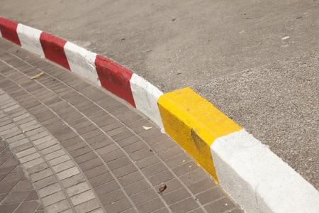 road barrier: Red and white yellow road barrier