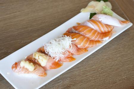 plated: Salmon sushi