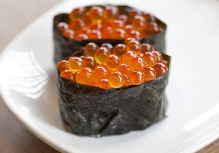 nori: Close up Ikura sushi , ikura with seaweed Nori, japanese cuisine Stock Photo