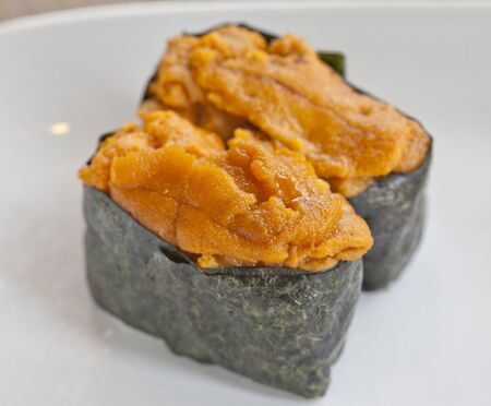 uni: Uni, sea urchin egg over rice Stock Photo