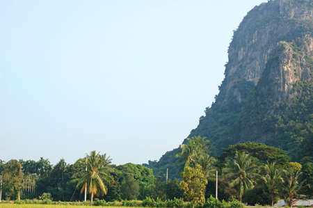 steep: Steep limestone outcrop in the central Thailand plains