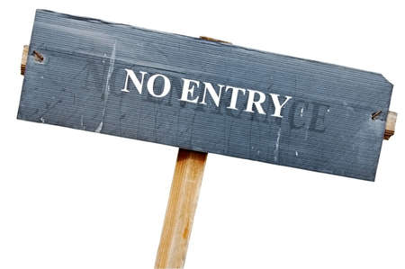 exclude: Untidy no entry sign with clipping path