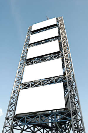 Tall scaffolding with blank advertisement spaces Stock Photo - 642407