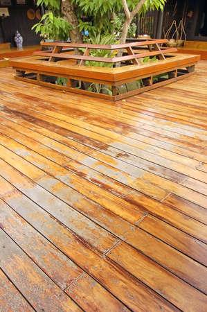 Wooden veranda on a traditional Thai house Stock Photo - 642510