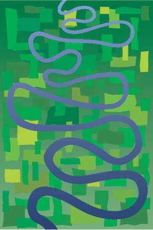 meandering: Abstract vector design of a meandering river Illustration