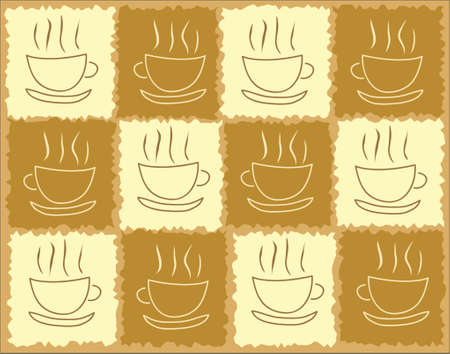 steaming: Vector background of steaming coffee cups