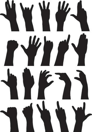 Vector outlines of various hand signs Illustration