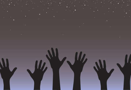 endeavor: Vector illustration of hands reaching for the stars Illustration