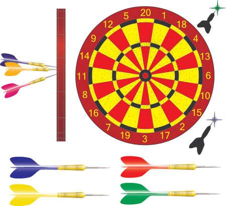 Vector ilustration of darts and dartboard Illustration