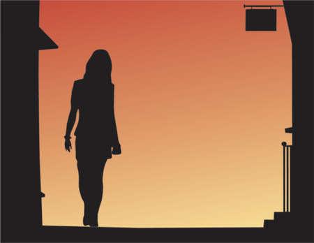 Vector Hintergrund der Frau zu Fuß eine Straße in der Nacht  Vektorgrafik