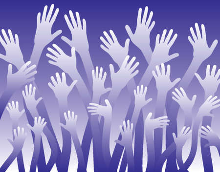 beg: Vector background of a sea of waving hands Illustration