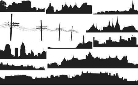 Set of various vector skylines and foregrounds