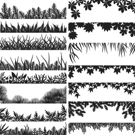 Selection of vector borders and foregrounds of various plants and trees Vetores