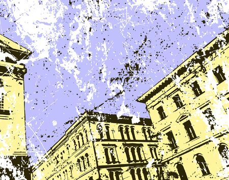 Vector illustration of town buildings and grunge