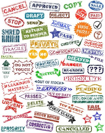 Selection of vector rubber stamps with grunge Vector Illustration