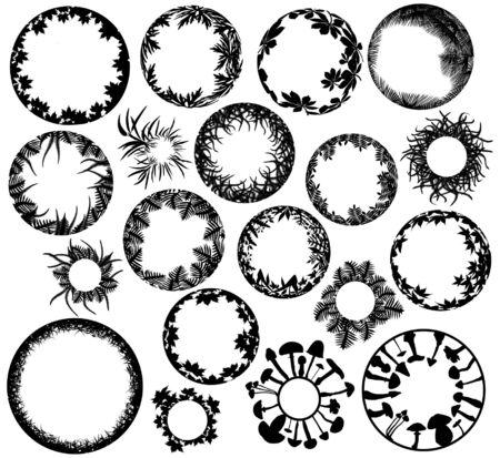 Colección de circular los elementos de diseño de plantas