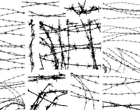 Selection of editable vector outlines of barbed wire