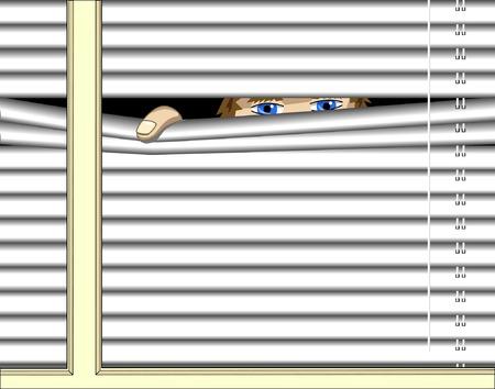 誰かが窓を通ってのぞきの編集可能なベクトル イラスト