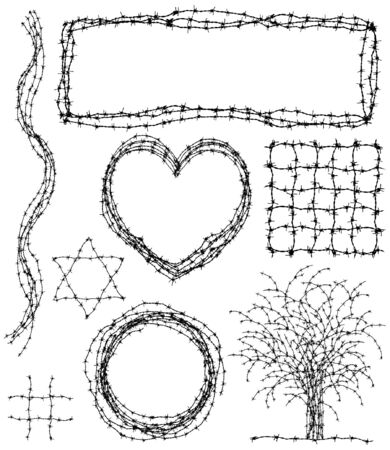 Set of editable vector design elements made from barbed wire