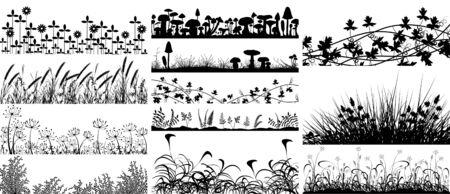 Ensemble de vectoriel éditable en avant de la végétation et les champignons