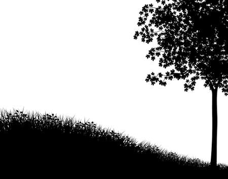 Editable vector silhouette with grassy bank and maple tree as separate elements