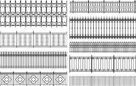 Conjunto de vectores editables cercas y barandas