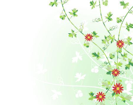 Editable vector illustration of vines with flowers Vektorové ilustrace