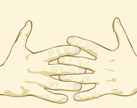 Fully editable vector illustration of a pair of hands
